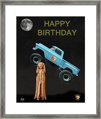 Monster Truck The Scream World Tour Happy Birthday Framed Print by Eric Kempson