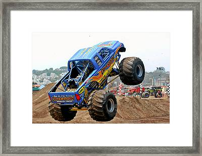 Monster Trucks - Big Things Go Boom Framed Print by Christine Till