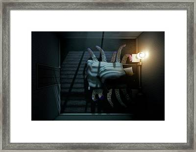 Monster Under The Bed Framed Print by Allan Swart