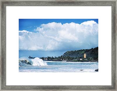 Monster Wave Waimea Bay Framed Print by Thomas R Fletcher