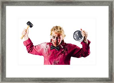 Monster With Clock And Hammer Framed Print by Jorgo Photography - Wall Art Gallery