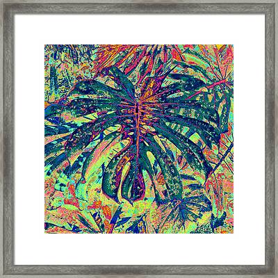 Framed Print featuring the digital art Monstera Leaf Patterns - Square by Kerri Ligatich