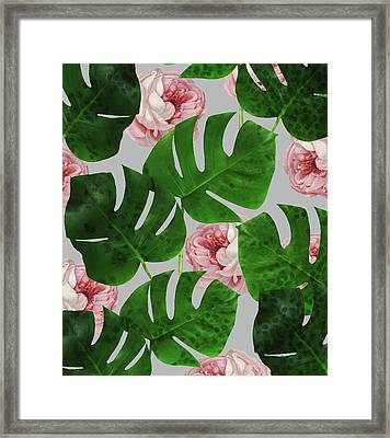 Monstera Rose Pattern Framed Print