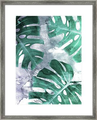 Monstera Theme 1 Framed Print by Emanuela Carratoni