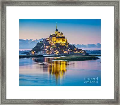 Mont Saint-michel In Twilight Framed Print