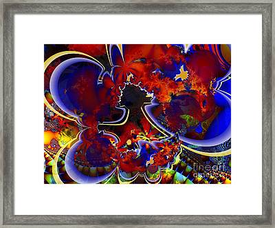 Montage In Reds And Blues Framed Print by Ron Bissett