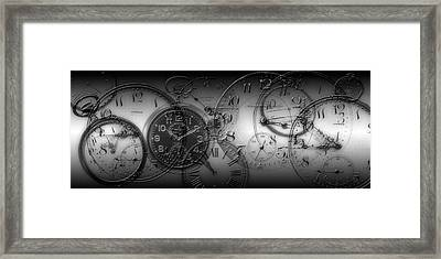 Montage Of Old Pocket Watches Framed Print