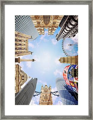 Montage Picture Of London Landmarks, View From Below (digital Composite) Framed Print