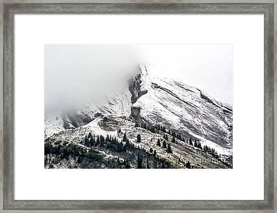 Montain Range Snow Covered Framed Print by Bernard Jaubert