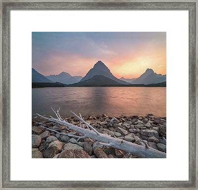 Montana Gold // Swiftcurrent Lake, Glacier National Park  Framed Print