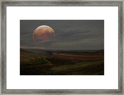 Montana Landscape On Blood Moon Framed Print