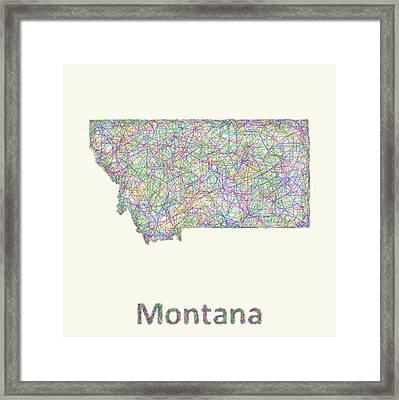 Montana Line Art Map Framed Print by David Zydd