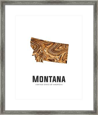 Montana Map Art Abstract In Brown Framed Print