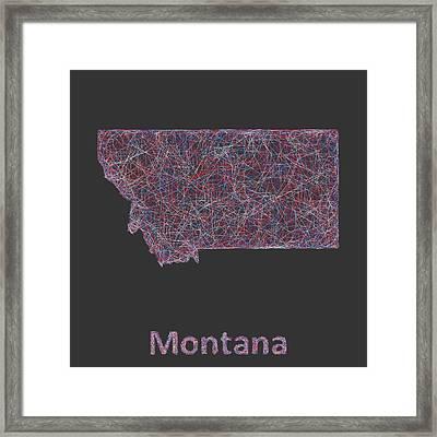 Montana Map Framed Print by David Zydd