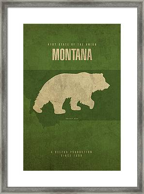 Montana State Facts Minimalist Movie Poster Art Framed Print