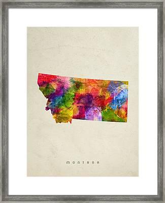 Montana State Map 02 Framed Print