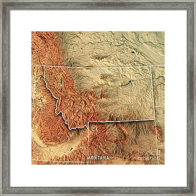 Montana State Usa 3d Render Topographic Map Border Framed Print