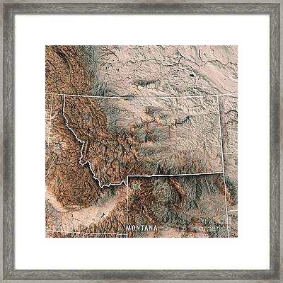 Montana State Usa 3d Render Topographic Map Neutral Border Framed Print