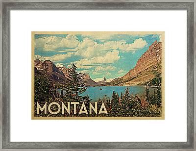 Montana Travel Poster - Vintage Travel Framed Print