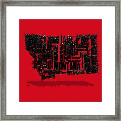 Montana Typographic Map 4d Framed Print