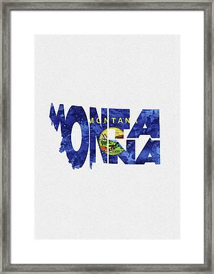Montana Typographic Map Flag Framed Print