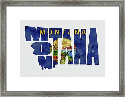 Montana Typography Map Flag Framed Print by Kevin O'Hare