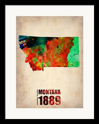 World Map Poster Mixed Media Framed Prints