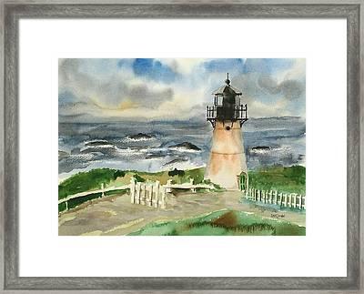 Montara Lighthouse, Plein Air Framed Print