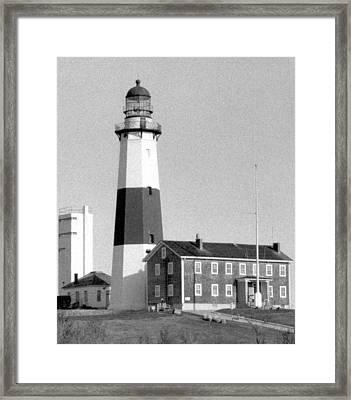 Montauk Light Black And White  Framed Print