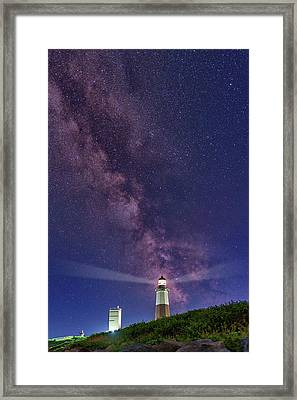 Montauk Point And The Milky Way Framed Print by Rick Berk