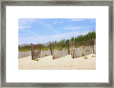 Montauk Sand Fence Framed Print by Art Block Collections