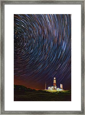 Montauk Star Trails Framed Print by Rick Berk