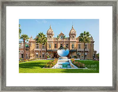 Monte Carlo Casino And Sky Mirror In Monaco Framed Print by Elena Elisseeva
