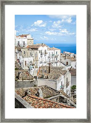 Monte Sant Angelo - White Houses Roofs Gargano Canvas  Apulia Prints Framed Print by Luca Lorenzelli