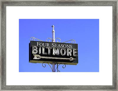 Framed Print featuring the photograph Montecitio Biltmore Sign by Art Block Collections