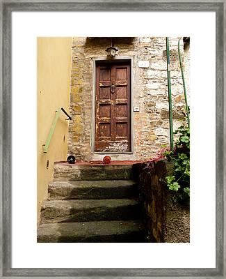 Montefioralle Door Framed Print by Rae Tucker