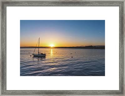Monterey Bay Sailboat At Sunrise Framed Print