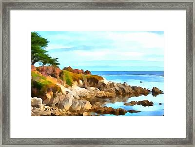 Framed Print featuring the photograph Monterey Coastline Watercolor by Floyd Snyder