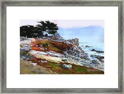 Framed Print featuring the painting Monterey Coast by Sergey Zhiboedov