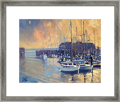 Monterey Marina In Early Morning Framed Print by Robert Lewis