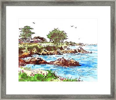 Framed Print featuring the painting Monterey Shore by Irina Sztukowski