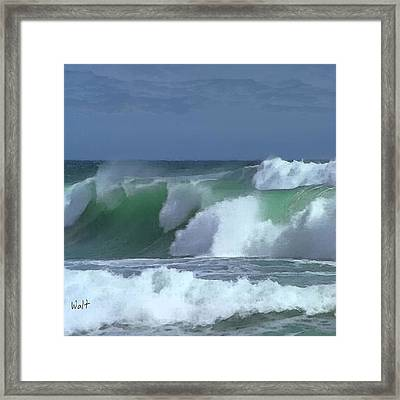 Framed Print featuring the digital art Monterey Surf by Walter Chamberlain