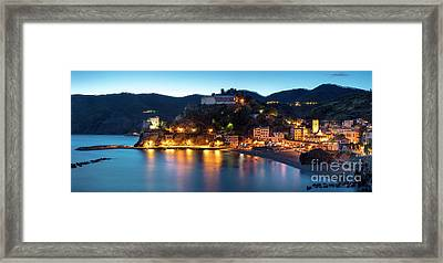 Framed Print featuring the photograph Monterosso Al Mare At Twilight by Brian Jannsen