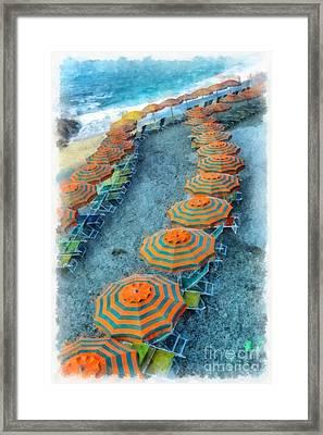 Monterosso Al Mare Cinque Terra Italy Watercolor Framed Print