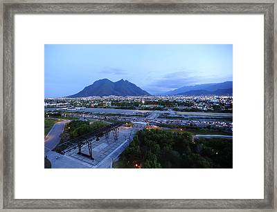Monterrey At Dusk With Cerro De La Framed Print