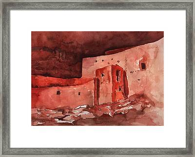 Framed Print featuring the painting Montezuma's Castle by Sharon Mick
