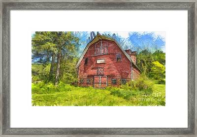 Montford Farm Red Barn Pencil Framed Print