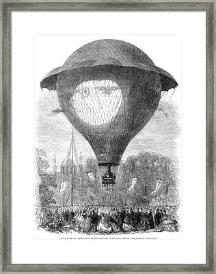 Montgolfier Balloon, 1864 Framed Print by Granger