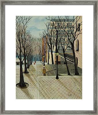Montmartre Steps In  Paris Framed Print by Susan Kubes
