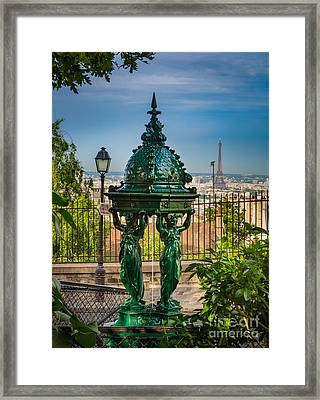 Montmartre Wallace Fountain Framed Print by Inge Johnsson